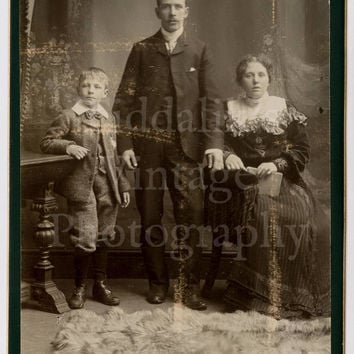 Cabinet Card Photo Victorian Couple with Young Boy Maybe Mother, Father and Son by Brockhouse of Hanley England