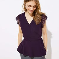 Petite Lace Cap Sleeve Wrap Top | LOFT