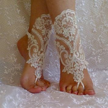 Ivory Barefoot Sandals, french lace, Nude shoes, Foot jewelry,Wedding, Victorian Lace,
