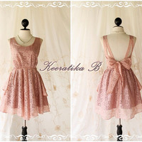 A Party - Cocktail Prom Party Dinner Wedding Bridesmaid Night Dress Pink Nude Color Backless Dress