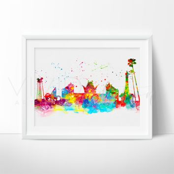 Hollywood Studios, Disney World Skyline Watercolor Art Print