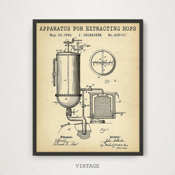 Apparatus For Extracting Hops Patent, Digital Download, Hop Plant, Beer Brewing, Beer Making, Liquor, Alcohol, Kitchen, Restaurant bar Decor