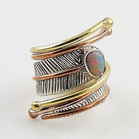 Australian Fire Opal Three Tone Sterling Silver Adjustable Wrap Ring