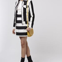 Stripe Wool Mix Jacket and A-Line Skirt