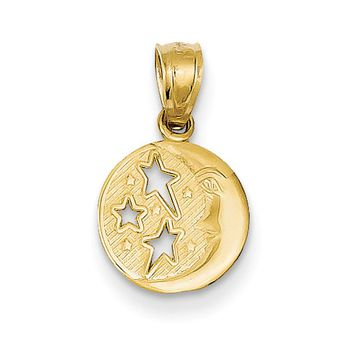 14k Yellow Gold 10mm Moon and Stars Pendant