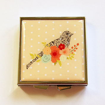 Pill container, Square Pill box, Square Pill case, Pill Case, Pill Box, Bird, Flower, Floral, Polka Dots, Yellow, Mint Container (4367)