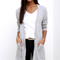 Obey Duster Grey Long Cardigan Sweater