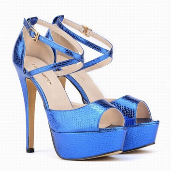 42 Big Size 14 Cm Sexy Ultra High Heels Sandals Women Crocodile Grain Platform Shoes Woman Summer Pumps Zapatos Mujer
