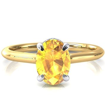 Secret Oval Yellow Sapphire 4 Prong Floating Halo Engagement Ring