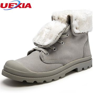 Unisex Warm Winter Snow Boots Men Shoes Couple Fashion Casual Canvas Rubber With Fur Ankle Boots Shoes Man Footwear Size 35-44