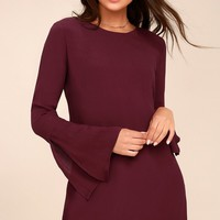 Be the One Plum Purple Long Sleeve Backless Shift Dress