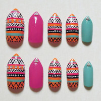Orange, Pink and Turquoise Stiletto Fake Nails with Aztec / Tribal Print and Silver Beads Nail Set