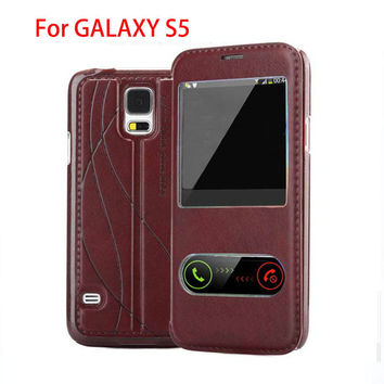 luxury original case for samsung galaxy s5 s 5 i9600 by pu leather holster view phone flip window retro stand cover cases covers