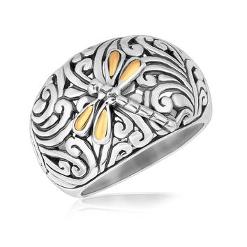 18K Yellow Gold and Sterling Silver Dragonfly Accented Domed Style Ring