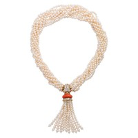 Boucheron Pearl Coral and Diamond Necklace
