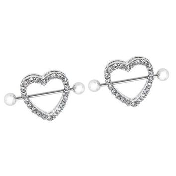 ac PEAPO2Q 1 Pair Luxury Shiny Clear Crystal Love Heart Shield Bar Barbell Ring Stainless Steel Barbell Body 10mm