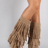 Women's Mid Calf Suede Fringe Boot