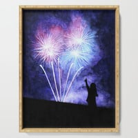 Blue and pink fireworks Serving Tray by savousepate