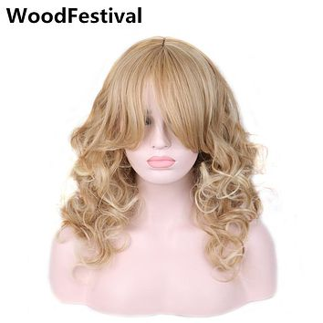 WoodFestival women heat resistant synthetic wigs long blonde wig cosplay blond wavy wig with bangs