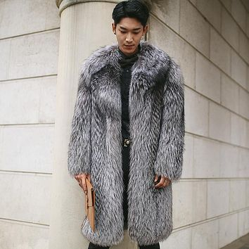 Russian Style Cold Winter warm thickening Men fur  coats  Luxury Real natural fox fur male fur outerwear