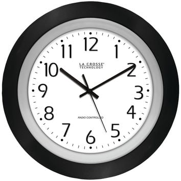 "La Crosse Technology 10"" Black & Silver Atomic Wall Clock"