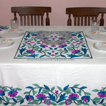 White Blue Yellow Purple Rust lilac Green Floral Table Cloth/Embroidered Large round cotton/linen/Square/Oval/Rectangle/60 inches/90/36/54