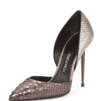 TOM FORD Metallic Two-Tone Python Pump, Silver/Gunmetal