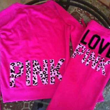 NEW Victoria's Secret LOVE PINK Matching Leopard Print Sweatshirt & Sweatpants