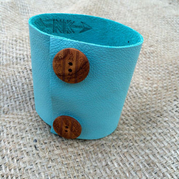 Upcycled Extra Wide Light Turquoise  Leather 2 Button Embellished Scarf Cuff