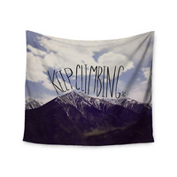 """Leah Flores """"Keep Climbing"""" Mountain Quote Wall Tapestry"""