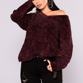 Knitted In Love Sweater - Wine