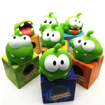 7Pcs/lot Rope Frog Vinyl Rubber Android Games Doll Cut The Rope OM NOM Candy Gulping Monster Toy Figure with Sound