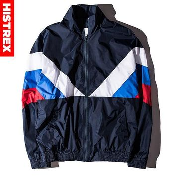 Trendy HISTREX Russian 2018 Jacket Men High Quality Russia Flag Famous Designer Nylon Windbreaker Reggae Navy Green Patchwork Coats AT_94_13