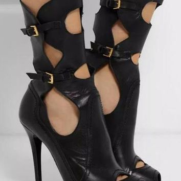 Black Smooth Leather Peep Toe Cut Out High Heel Ankle Buckles Boots