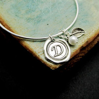 Personalized Bracelets, Wax Seal Initial Bangle, Monogram, Personalized bangles,  LoVE Friendship Bridesmaid, Mother Gift, Stacking Bangles