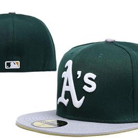 hcxx Oakland Athletics New Era MLB Authentic Collection 59FIFTY Cap Green-Grey