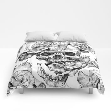 Black and White skull with roses pen drawing Comforters by Sarachnid