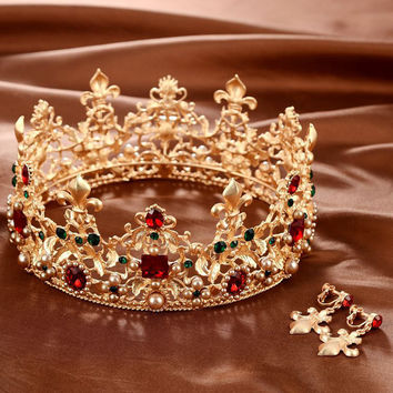 Baroque Retro Luxury Pearl Crystal Gold Crown Bridal Wedding Jewelry Rhinestone Tiaras Crowns Pageant Dress Hair Accessories
