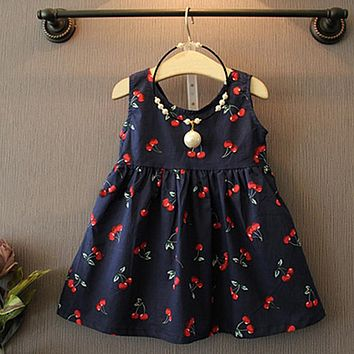 2017 Summer Toddler Girls Dress Casual Clothing Cherry Print Princess Baby Dress Cotton Backless Kids Vestidos Baby Girl Clothes