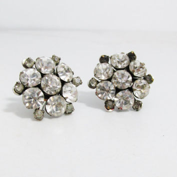 Vintage Earrings: Rhinestone Clusters, Screw Back Earrings