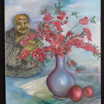 Chinese Buddha Original Vintage Oil Painting // signed // Buddha Painting // vintage // Chinese // original oil painting // oil paintings //