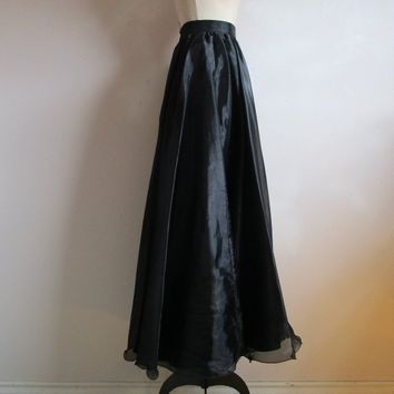 90s Organza Evening Maxi Skirt Sposaitalia Black Sheer A-line Flare 1990s Floor Length Prom Designer Skirt XS