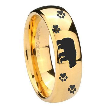 10MM Dome Bear and Paw 14K Gold IP Shiny Tungsten Carbide Men's Ring