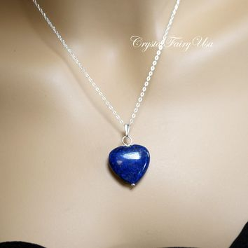 Lapis Lazuli Necklace - Sterling Silver Lapis Heart Necklace - Lapis Lazuli Jewelry - Tiny 14k Rose Gold Filled Blue Stone Jewelry