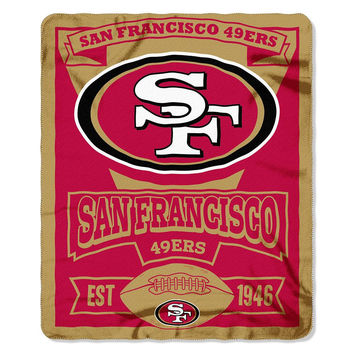 San Francisco 49ers NFL Light Weight Fleece Blanket (Marque Series) (50inx60in)