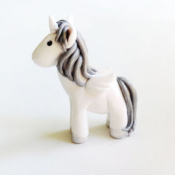 Beautiful Silver Hair Pegasus Unicorn Alicorn Figure - Handmade Polymer Clay Fantasy Animal