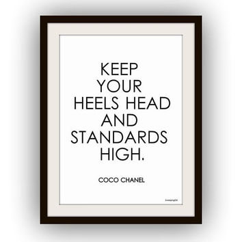 Keep your heels head, printable, 4set, Chanel quote, Fashion Beauty Makeup, Wall Art decor, decal decals, girl room poster,coco beauty