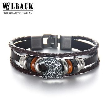 Welcome Fashion Jewelry Brand Animal Prairie Eagle Vintage Ethnic American Style Fastidious Beads Charm Leather Bracelets