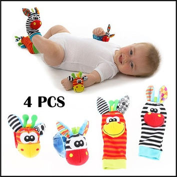 Infant Baby Kids Cute Animal Hand Wrist Bells Foot Sock Rattles Soft Toys Finder