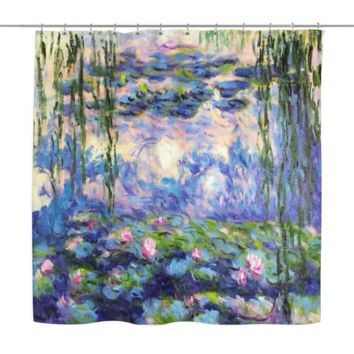 Water Lilies by Claude Monet Decorative Shower Curtain [Custom Made]